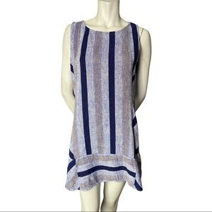 Kenar Blue Striped Linen Blend Minidress Size L